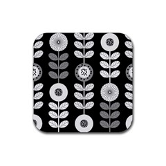 Floral Pattern Seamless Background Rubber Coaster (square)