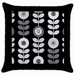 Floral Pattern Seamless Background Throw Pillow Case (Black)