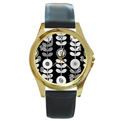 Floral Pattern Seamless Background Round Gold Metal Watch