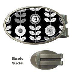 Floral Pattern Seamless Background Money Clips (Oval)