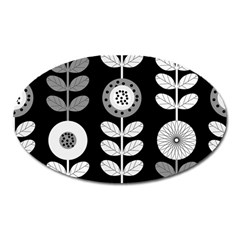 Floral Pattern Seamless Background Oval Magnet