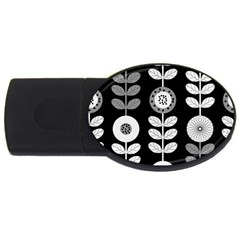 Floral Pattern Seamless Background USB Flash Drive Oval (1 GB)