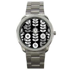 Floral Pattern Seamless Background Sport Metal Watch