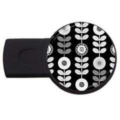 Floral Pattern Seamless Background USB Flash Drive Round (4 GB)