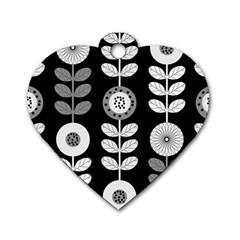 Floral Pattern Seamless Background Dog Tag Heart (One Side)