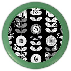 Floral Pattern Seamless Background Color Wall Clocks