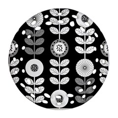 Floral Pattern Seamless Background Round Filigree Ornament (two Sides)