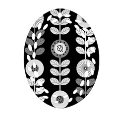 Floral Pattern Seamless Background Oval Filigree Ornament (Two Sides)