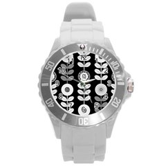 Floral Pattern Seamless Background Round Plastic Sport Watch (L)