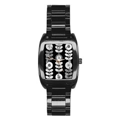 Floral Pattern Seamless Background Stainless Steel Barrel Watch