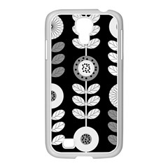 Floral Pattern Seamless Background Samsung GALAXY S4 I9500/ I9505 Case (White)