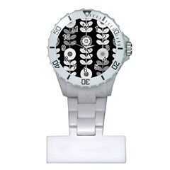 Floral Pattern Seamless Background Plastic Nurses Watch