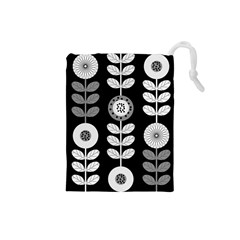 Floral Pattern Seamless Background Drawstring Pouches (small)