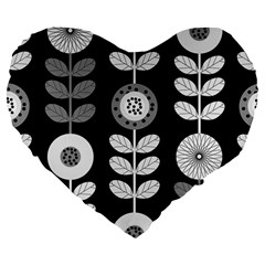 Floral Pattern Seamless Background Large 19  Premium Flano Heart Shape Cushions