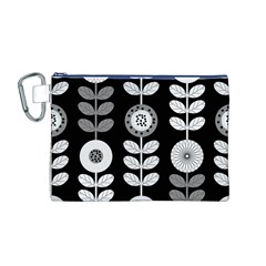 Floral Pattern Seamless Background Canvas Cosmetic Bag (M)