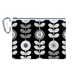 Floral Pattern Seamless Background Canvas Cosmetic Bag (L)