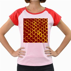 Network Grid Pattern Background Structure Yellow Women s Cap Sleeve T Shirt