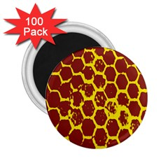 Network Grid Pattern Background Structure Yellow 2 25  Magnets (100 Pack)
