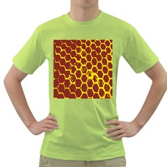 Network Grid Pattern Background Structure Yellow Green T Shirt