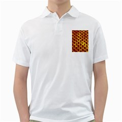 Network Grid Pattern Background Structure Yellow Golf Shirts