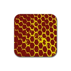 Network Grid Pattern Background Structure Yellow Rubber Coaster (Square)