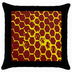 Network Grid Pattern Background Structure Yellow Throw Pillow Case (Black)