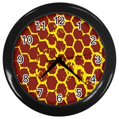 Network Grid Pattern Background Structure Yellow Wall Clocks (black)