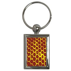 Network Grid Pattern Background Structure Yellow Key Chains (Rectangle)