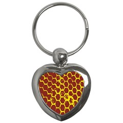 Network Grid Pattern Background Structure Yellow Key Chains (Heart)