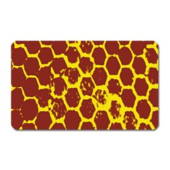 Network Grid Pattern Background Structure Yellow Magnet (Rectangular)