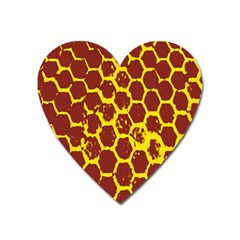 Network Grid Pattern Background Structure Yellow Heart Magnet