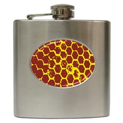 Network Grid Pattern Background Structure Yellow Hip Flask (6 oz)