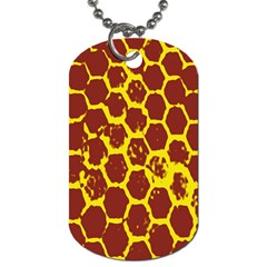 Network Grid Pattern Background Structure Yellow Dog Tag (Two Sides)