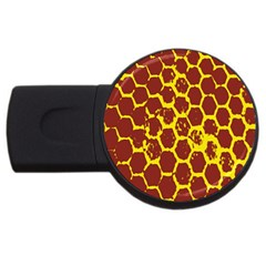 Network Grid Pattern Background Structure Yellow USB Flash Drive Round (2 GB)