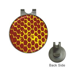 Network Grid Pattern Background Structure Yellow Hat Clips with Golf Markers