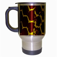 Network Grid Pattern Background Structure Yellow Travel Mug (Silver Gray)