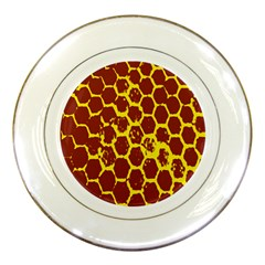 Network Grid Pattern Background Structure Yellow Porcelain Plates