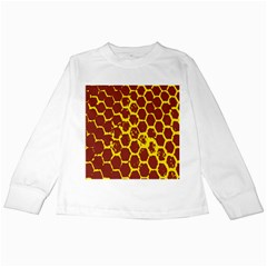 Network Grid Pattern Background Structure Yellow Kids Long Sleeve T Shirts