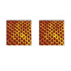 Network Grid Pattern Background Structure Yellow Cufflinks (square)