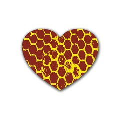 Network Grid Pattern Background Structure Yellow Heart Coaster (4 Pack)