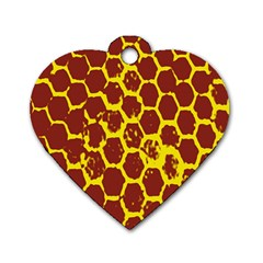 Network Grid Pattern Background Structure Yellow Dog Tag Heart (Two Sides)