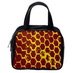 Network Grid Pattern Background Structure Yellow Classic Handbags (one Side)