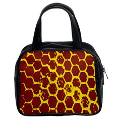 Network Grid Pattern Background Structure Yellow Classic Handbags (2 Sides)