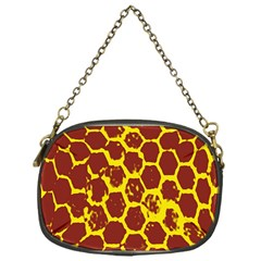 Network Grid Pattern Background Structure Yellow Chain Purses (one Side)