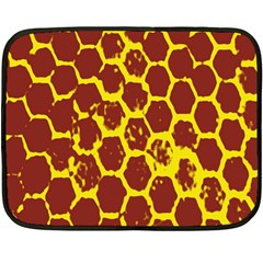 Network Grid Pattern Background Structure Yellow Double Sided Fleece Blanket (Mini)