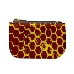 Network Grid Pattern Background Structure Yellow Mini Coin Purses