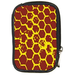 Network Grid Pattern Background Structure Yellow Compact Camera Cases