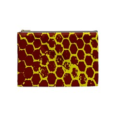 Network Grid Pattern Background Structure Yellow Cosmetic Bag (medium)