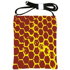 Network Grid Pattern Background Structure Yellow Shoulder Sling Bags