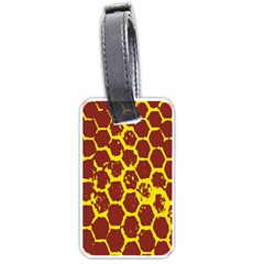 Network Grid Pattern Background Structure Yellow Luggage Tags (Two Sides)